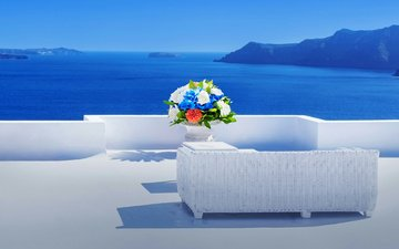 flowers, mountains, sea, horizon, bouquet, greece, santorini