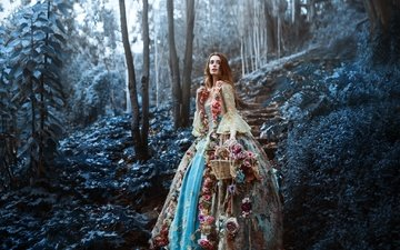 flowers, nature, forest, girl, dress, look, creative, hair, face, basket, ronny garcia