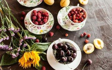 цветы, малина, подсолнух, черешня, абрикос, ягоды, полевые цветы, земляника