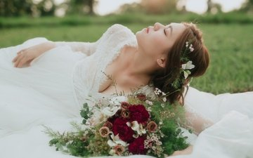 flowers, dress, summer, bouquet, face, the bride, closed eyes