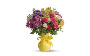 цветы, розы, букет, белый фон, ваза, хризантемы, композиция, астры, альстрёмерия