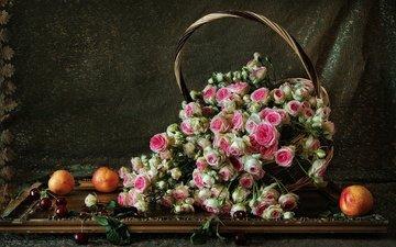 цветы, розы, фрукты, черешня, корзина, ягоды, штора, натюрморт, нектарины