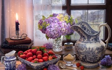 flowers, style, strawberry, books, berries, window, candle, pitcher, sugar, still life, hydrangea