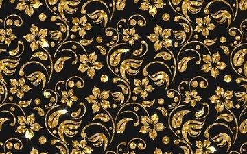 flowers, texture, background, pattern, golden
