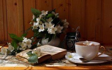 цветы, ветки, доски, чашка, чай, книга, банка, натюрморт, ложка, вазочка, жасмин