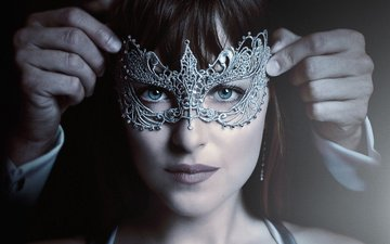 girl, mask, look, hair, face, actress, dakota johnson, fifty shades darker