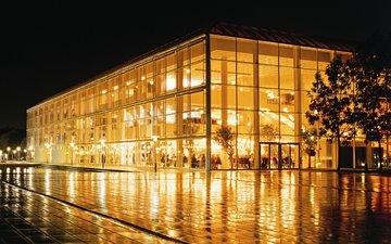 ночь, огни, город, здание, дания, концертный зал, орхус