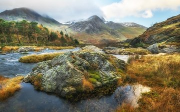 trees, river, mountains, stones, landscape, stream, wales