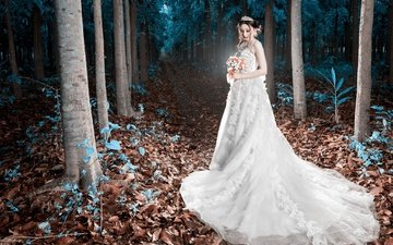 trees, style, girl, dress, look, hair, bouquet, face, the bride