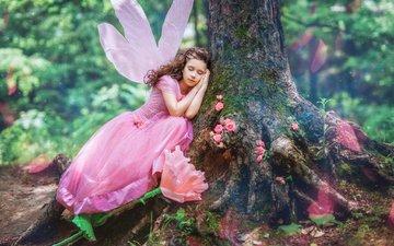 дерево, лес, платье, цветок, крылья, девочка, фея, ствол, закрытые глаза, diana lipkina