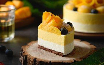 фрукты, ягоды, персики, черника, сладкое, торт, десерт, кусок, манго