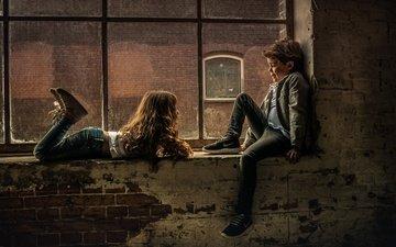 настроение, дети, девочка, окно, мальчик
