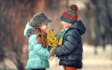 дети, радость, девочка, весна, букет, мальчик, друзья, мимоза