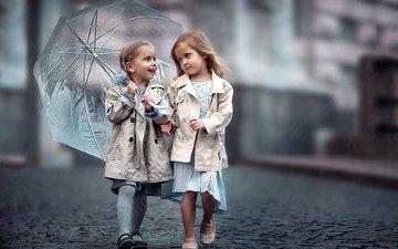 дети, зонт, девочки, мостовая, подружки
