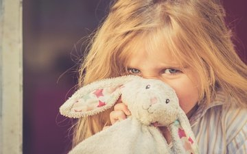 look, children, girl, toy, hair, face, rabbit, hare, andy gravee