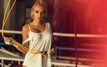 girl, blonde, ben haïm david, jump rope, léa boxe