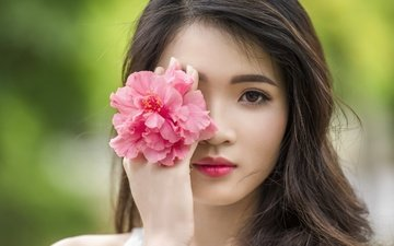 девушка, цветок, портрет, взгляд, волосы, лицо, макияж