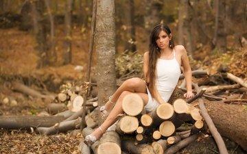 trees, nature, forest, girl, look, women, model, feet, wood, long hair, valentina