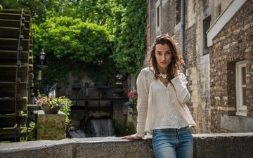 girl, jeans, blouse, belgium