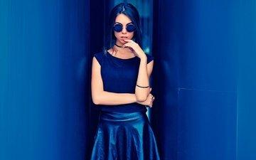 girl, background, glasses, wall, skirt, model, photoshoot, sunglasses