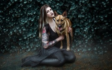 girl, background, look, dog, hair, face, makeup
