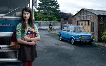 девушка, ретро, город, взгляд, авто, волосы, лицо, автобус, stories
