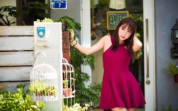 девушка, город, азиатка