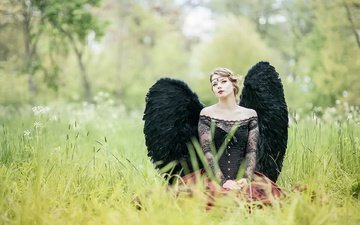 grass, nature, girl, summer, look, fantasy, wings, model, angel, hair, face