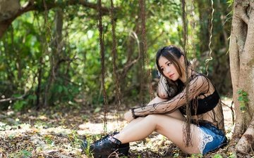 trees, nature, girl, pose, summer, look, hair, face, asian, shorts