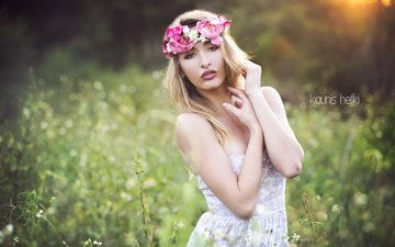 girl, dress, field, summer, look, hair, lips, face, wildflowers, wreath