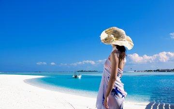 девушка, море, пляж