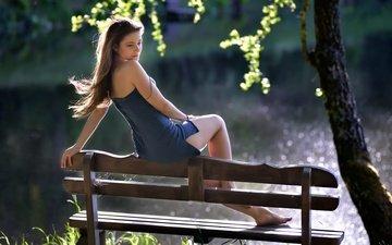 tree, girl, dress, pose, legs, hair, bench, dana, ivan borys