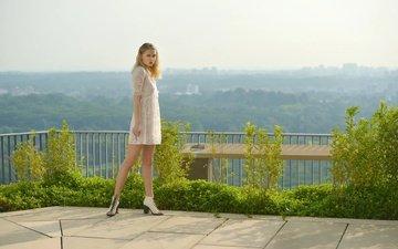 girl, view, look, legs, hair, face, white dress, beautiful girl, way up high, warren.g.