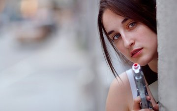 girl, gun, look, toy, hair, face