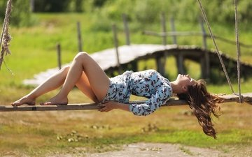 girl, dress, summer, legs, kazakhstan, sunlight, closed eyes, murat kuzhakhmetov