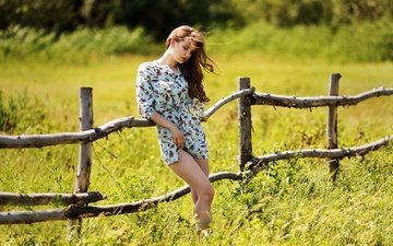 girl, dress, summer, the fence, kazakhstan, murat kuzhakhmetov, summer story