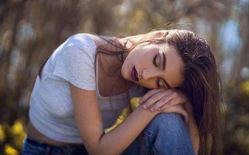 девушка, портрет, джинсы
