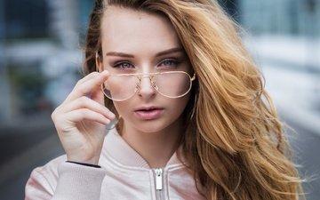 girl, portrait, glasses, makeup, hairstyle, jacket, cute, zoe, vincent chassin, zoe caiola marmori