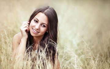 grass, girl, smile, portrait, look, model, hair, face, caro