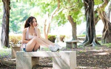 девушка, скамья, азиатка