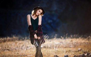 девушка, взгляд, модель, волосы, лицо, шляпка
