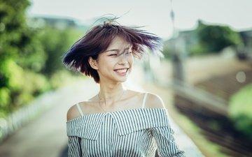девушка, улыбка, азиатка