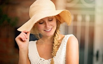 girl, smile, look, hair, face, braid, hat, freckles, mark prinz
