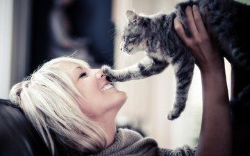 девушка, блондинка, улыбка, кошка, взгляд, профиль, волосы, лицо