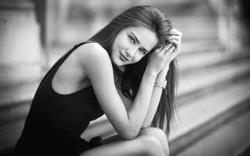 girl, smile, portrait, look, black and white, model, hair, luca foscili, raluca