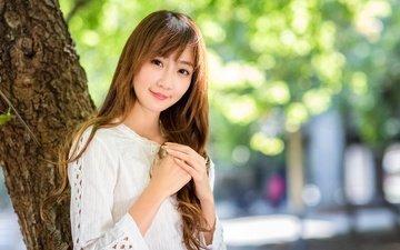 tree, girl, smile, look, hair, face, asian