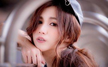 girl, look, hair, face, asian, cap, bokeh