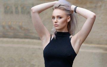 девушка, портрет, взгляд, модель, волосы, лицо, руки, abbie, hyde park