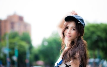 девушка, взгляд, волосы, азиатка, кепка