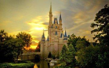 закат, замок, сша, калифорния, диснейленд, замок золушки, калифорния. сша, disney castle